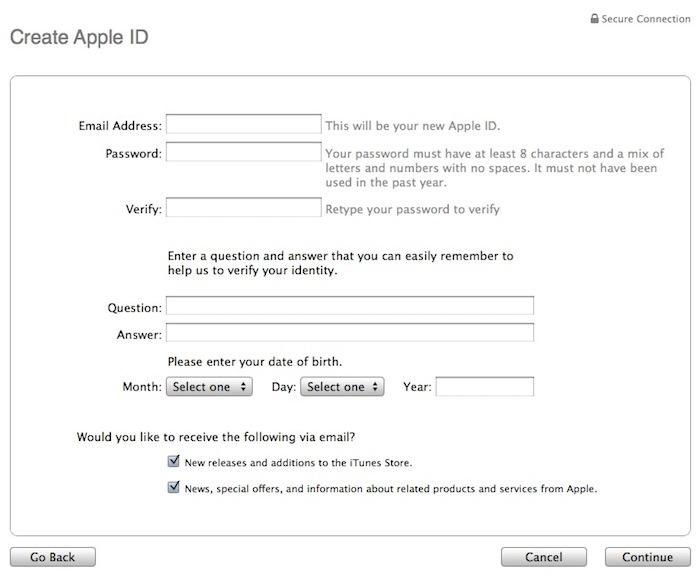 填写美国区苹果 iTunes Store/App Store 账号信息