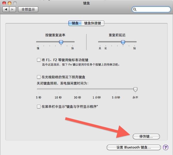 Mac OS X 系统下的苹果电脑键盘设置界面