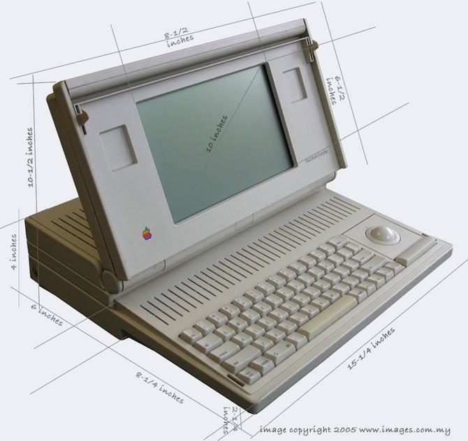 第一台苹果笔记本电脑:Macintosh Portable 的外形尺寸