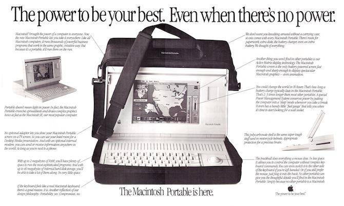 当时杂志上的苹果 Macintosh Portable 广告海报