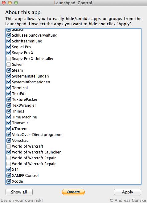 隐藏 Lion 系统 Launchpad 不常用软件的免费工具:Launchpad Control