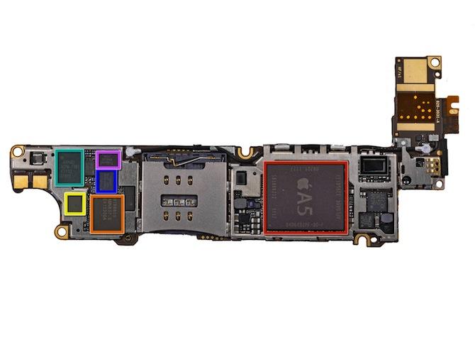 苹果 iPhone 4S 主板上的芯片