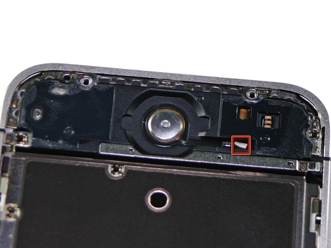 苹果 iPhone 4S 的 Home 键对应区域