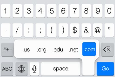 苹果 iOS 7 系统的键盘上快速输入 .com .net .org 等网址后缀