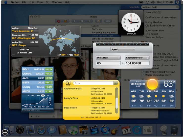 苹果电脑 Mac OS X 10.4 Tiger 系统里的 Dashboard Widget 功能
